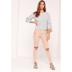 Missguided Sinner High Waisted Ripped Knee Skinny Jeans Nude ($27) ❤ liked on Polyvore featuring jeans, camel, distressed skinny jeans, pink skinny jeans, high waisted jeans, destroyed skinny jeans and skinny jeans