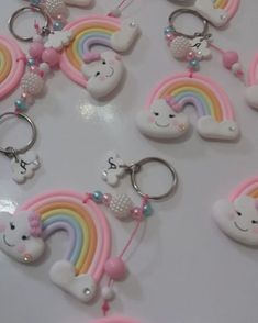 Rainbow First Birthday, Rainbow Baby, Baby Birthday, Fun Crafts For Kids, Diy And Crafts, Arts And Crafts, Birthday Decorations, Baby Shower Decorations, Cute Polymer Clay