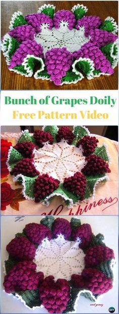 Fantastic Absolutely Free Crochet Flowers bunch Thoughts Crochet Bunch of Grapes Doily Free Pattern Video – Crochet Doily Free Patterns Crochet Food, Crochet Kitchen, Crochet Art, Thread Crochet, Crochet Gifts, Crochet Dollies, Crochet Flower Patterns, Crochet Designs, Crochet Flowers