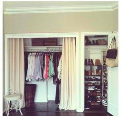 Dorm curtains – interior home maker decoration Dorm Curtains, Curtains For Closet Doors, Sliding Closet Doors, Curtain Closet, Curtain Door, Hanging Closet, Window Curtains, Closet Bedroom, Home Bedroom