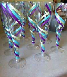 Take Theme Matching Ribbon And Jazz Up The Plain, Plastic Champagne Flutes