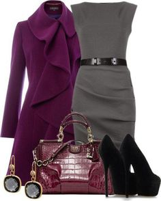 Office Style (Her): Add a colorful coat for the winter.