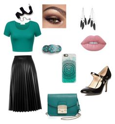 """Teal feel"" by jill-hubbard on Polyvore featuring Charlotte Russe, Aviù, Dorothy Perkins, Furla, Lime Crime, Sweet Romance, L. Erickson and Casetify"