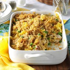 Chicken & Swiss Casserole Recipe -It's nice to have an alternative to the traditional baked ham on Easter. This comforting casserole is always a crowd pleaser. Using rotisserie chicken from the deli makes prep simple. —Christina Petri, Alexandria, Minnesota