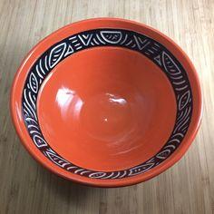 wheel-thrown, hand-carved, porcelain bowl Clementine (reddish-orange) smaller: height - rim - bigger: height - rim - Lead free and food safe Safe Food, Serving Bowls, Hand Carved, Porcelain, Carving, Plates, Ceramics, Tableware, Cherry