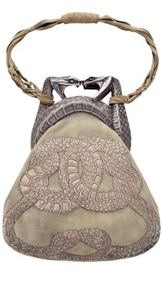 René Lalique, Purse with Two Serpents, (1901-03). Gold, silver, antelope suede, and silver thread.
