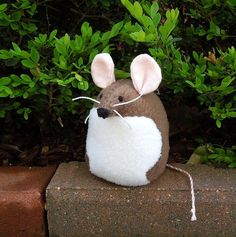 hand made stuffed animals | Brown Mouse Handmade Stuffed Animal by bubbletime on Etsy