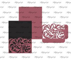 Laser cut pocket Envelope for wedding invitation. 5x7 svg dxf eps ai- Cricut & Silhouette Cameo cutting design