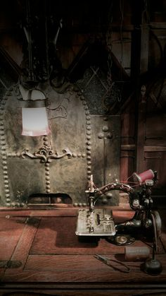 antique sewing machine in the fireplace