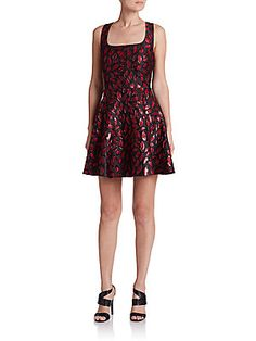 Diane von Furstenberg Minnie Printed Fit-And-Flare Dress - Lacquer Red