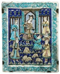 A QAJAR MOULDED POTTERY TILE TEHRAN, IRAN, CIRCA 1880 Moulded and painted in polychrome over a white ground, the cobalt-blue field depicting a woman standing before a pavilion wearing European hat and pouring wine into a cup held up to her by one of four bearded gentleman in the foreground, she is flanked by two maidservants, within turquoise border of scrolling vine issuing palmettes, corner with repaired break 17¾ x 14¼in. (44.9 x 34.9cm.)