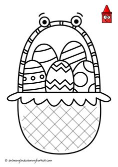 How To Draw Easter Basket | Easter Basket Ideas | Easter Coloring Pages