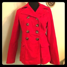 Make an offer! I will drop $ - Old navy cord- S This is an extremely cute red corduroy jacket by Old Navy! It is double-breasted and has two rows of buttons the buttons have a tortoise shell color to them!  this jacket is all around the hot will look good with a skirt a black skirt or a brown skirt,  slacks, jeans or whatever color you put with it !! I love versatile wardrobe items! Good-EUC , One tiny little spot underneath the top button see a picture two, May come out, not noticeable…