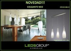 Colgante de Línea Neo Neo, Dining Table, Ceiling Lights, Lighting, Mantra, Furniture, Home Decor, Tents, Lights