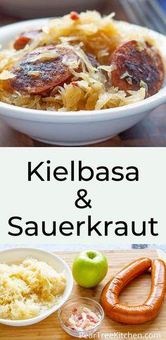 Kilbasa Sausage Recipes, Sausage Crockpot Recipes, Polish Sausage Recipes, Cooking Recipes, Polish Keilbasa Recipes, Kitchen Recipes, Easy Recipes, Dinner Recipes, Keilbasa And Sauerkraut