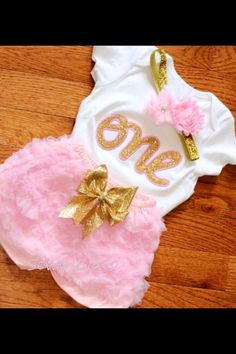 First Birthday tutu 1st Birthday tutu Pink and Gold by SewsnBows