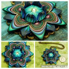 http://jewelry.de-cors.com/2014/10/etsy-find-of-day-polymer-clay-flower-necklace.html  Polymer Clay Large Dimensional Flower Necklace by iKandiClay   Etsy #etsyfind