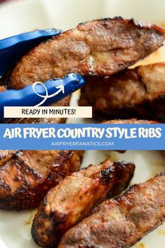 Make these Air Fryer Country Style Ribs in just 20 minutes right in your air fryers with ribs, seasoning, and barbecue sauce! Air Fryer Oven Recipes, Air Fry Recipes, Air Fryer Dinner Recipes, Easy Dinner Recipes, Lunch Recipes, Ninja Recipes, Dinner Ideas, Baked Country Style Ribs, Country Ribs Recipe