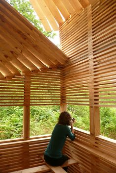 Bird hide designed and built by CAT's architecture students, photo by Centre for…