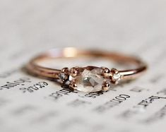 """14K Morganite Diamond Ring, """"Pink Champagne"""" Ring, Oval Morganite, Dainty Ring, Rose Gold, Pink Stone, Blush Oval Stone, Solid Gold"""