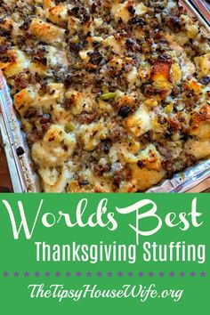 The best Thanksgiving stuffing you will ever taste. The best Thanksgiving stuffing you will ever taste. Savory sausage, celery, onions and mushrooms make this easy recipe delicious. A new family holiday tradition. Stuffing Recipes For Thanksgiving, Thanksgiving Appetizers, Thanksgiving Side Dishes, Holiday Recipes, Best Turkey Stuffing, Easy Thanksgiving Dinner, Sausage Stuffing, Holiday Desserts, Traditional Stuffing Recipe
