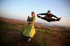 #Mongolia Dancers in traditional costumes perform near the Desert Lotus hotelPhotograph: Feng Li/Getty Images