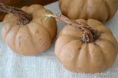 DIY Pumpkins with Realistic Looking Stems   www.andersonandgrant.com ( using sisal rope, cinnamon, and mod podge; chalkpaint made from 1 1/2 tsp. plaster of paris, 3/4 tsp. water and 2 oz. acrylic craft paint, the waxed with a dark wax)