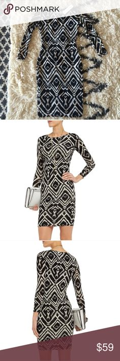 T-bags ikat bodycon New with tags black and cream printed bodycon jersey dress, fully lined and form fitting, it runs slightly small. I'm a dd and it was too tight in the chest for me. Modeled in a small. No trades. T-Bags Dresses Mini