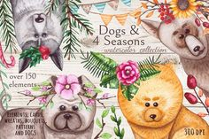 Dogs & 4 Seasons by Salted Galaxy on @creativemarket