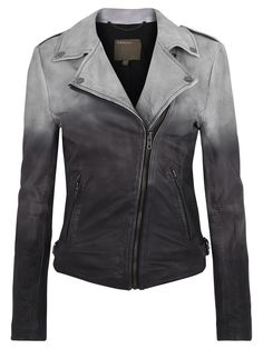 And of course a nice, classic look, as well.Muubaa Fornas Dip Dyed Ombre Leather Biker Jacket in Ash Cool Outfits, Fashion Outfits, Womens Fashion, Top Mode, Blazers, Cute Jackets, Dark Fashion, Everyday Fashion, Autumn Winter Fashion