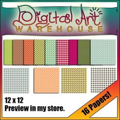 Clip Art: 16 Digital Papers Backgrounds Spring Background Paper