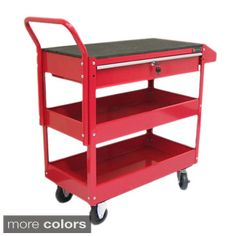 Excel - Steel Tool Cart with Rubber Work Surface - Red Storage Cart, Tool Storage, Rolling Utility Cart, Tool Cart, Plastic Shelves, Metal Tools, Metal Welding, Tool Organization, Organizing