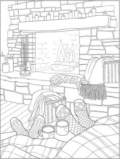 6 Warm and Happy Home Coloring Pages (Craft Gossip) Monster Coloring Pages, Cat Coloring Page, Printable Adult Coloring Pages, Free Coloring Pages, Coloring Sheets, Coloring Books, Christmas Coloring Pages, Photoshop Design, Mandala Art