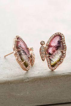 Anthropologie One-Of-A-Kind Butterfly Tourmaline Earrings