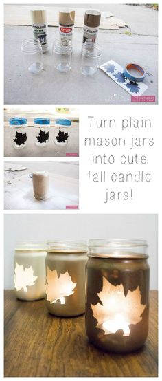 DIY Fall Leaf Mason Jar luminaries tutorial :: Simple ombre leaf luminaries craft adds beautiful ambience to your fall decor! Plus make a thoughtful hostess gift idea for Thanksgiving. Diy Spring, Fall Diy, Fall Mason Jars, Mason Jar Diy, Mason Jar Projects, Mason Jar Crafts, Fall Candles, Autumn Crafts, Do It Yourself Crafts