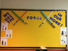 Star Wars Bulletin Board: We use the force in our work. My class is particularly enthralled with Star Wars right now, this would be fun. Space Classroom, 4th Grade Classroom, Classroom Supplies, New Classroom, Classroom Design, Classroom Themes, Classroom Organization, Star Wars Classroom, Disney Classroom