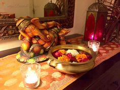 Indian Decor Ideas - Diya V - Indian Living Rooms Pooja Room Design, Foyer Design, House Design, Indian Home Interior, Indian Interiors, Ethnic Home Decor, Indian Home Decor, Ganpati Decoration At Home, Home Entrance Decor