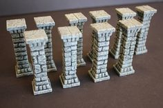 Miniature pillars, perfect for tabletop RPGs such as D&D. Compatible with Dwarven Forge products or any 28mm-32mm game system. Can be used to
