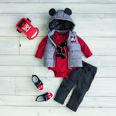SAVE 40%! Mickey Mouse 2-Piece Red/Black Silhouette Bodysuit and Pant Set. Baby will look dapper in this adorable set. Made from a soft cotton material, the fun, red, long sleeve graphic print top of Mickey's silhouette and comfortable gray pants with elastic waist and pockets make a great holiday outfit. Also shown, the Mickey Mouse Hooded Vest and Mickey Mouse Sneakers. Disney Baby clothing & accessories sale valid until 12/25/17 while supplies last. #DisneyBabyBundles #MickeyMouse