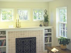 Awning Windows Above Fireplace.