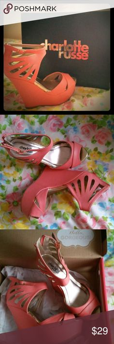 🔥👠BRAND NEW CORAL PINK WEDGES SIZE 7!!!👠🔥 🔥👠BRAND NEW CORAL PINK WEDGES SIZE 7!!!👠🔥 Charlotte Russe Shoes
