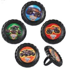 12 Monster Jam Truck Cupcake / Cake Topper Rings Birthday party supplies Grave Digger favors by BigCatCrafts on Etsy https://www.etsy.com/listing/265402383/12-monster-jam-truck-cupcake-cake-topper