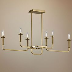 "Kichler Alden 38 1/2""W Brass 6-Light Linear Chandelier - #1W564 