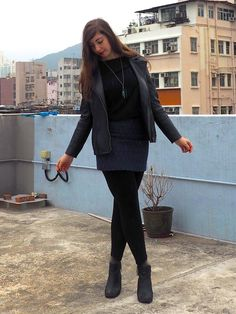 Sparkle | outfit of black top, leather jacket, blue sparkly skirt, black leggings & heeled ankle boots