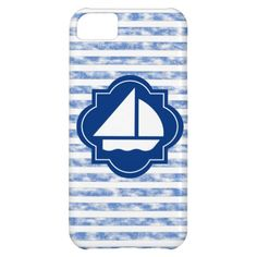 Sail Boat Silhouette With Nautical Blue Stripes iPhone 5C Case #Zazzle #iPhone #sailing