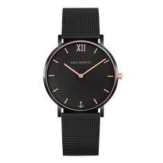 Become an eye-catcher with Watch the Sailor Black Sunray in black/rose gold with black mesh strap ⚓ PAUL HEWITT ✓ First-class quality Mesh Bracelet, Bracelet Cuir, Bracelet Sizes, Black Stainless Steel, Stainless Steel Watch, Casual Watches, Watches For Men, Stylish Watches, Montre Paul Hewitt