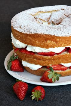 Chiffon Cake with Strawberries and Cream ~T~ I love this cake. It is delicious and beautiful to serve. Always a hit.