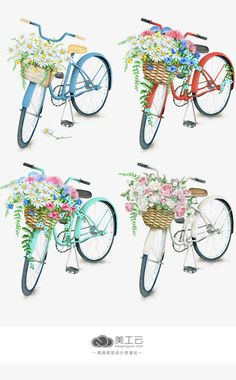 Flower bike illustration clip art Ideas for 2019 Decoupage Vintage, Decoupage Paper, Bike Illustration, Watercolor Illustration, Bicycle Pictures, Decoupage Printables, Project Life Scrapbook, Flower Clipart, Journal Stickers