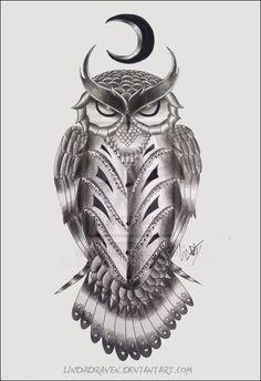 Owl tattoo by LindaDraven