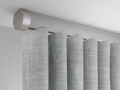 tracked ceiling fix curtain pole set in weathered oak stained wood with end cap finials Staining Wood, Bifold Doors, Floor To Ceiling Curtains, Oak Stain, Curtains, Traditional Curtains, Contemporary Curtains, Curtain Alternatives, Weathered Oak Stain